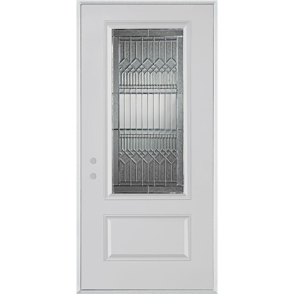 Stanley Doors 32 in. x 80 in. Lanza Zinc 3/4 Lite 1-Panel Painted White Steel Prehung Front Door