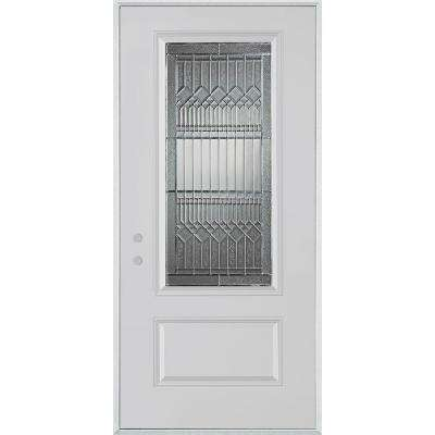 32 in. x 80 in. Lanza Zinc 3/4 Lite 1-Panel Painted White Right-Hand Inswing Steel Prehung Front Door