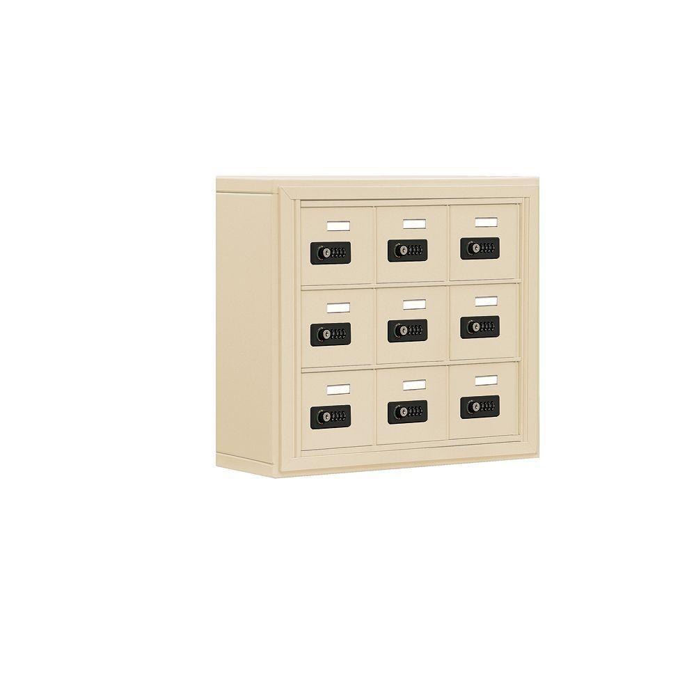 19000 Series 24 in. W x 20 in. H x 6.25 in. D 9 A Doors S-Mount Resettable Locks Cell Phone Locker in Sandstone