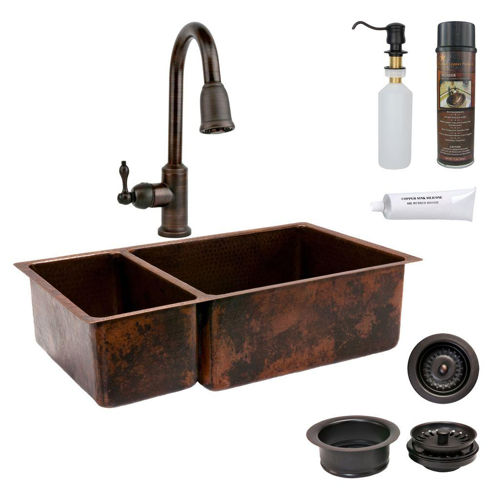 Premier Copper Products All In One Undermount Hammered 33 0 Hole 25 75 Double Bowl Kitchen Sink Oil Rubbed Bronze Ksp2 K25db33199 The Home