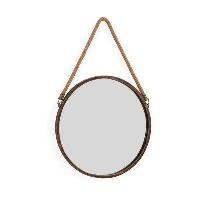 15 in. Gold Patina Round Mirror with Hanging Rope