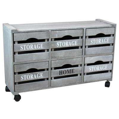 32.25 in. W x 18.38 in. Rustic Gray Cabinet Storage Chest with 6-Crate Style Drawers and Free Optional Rolling Casters
