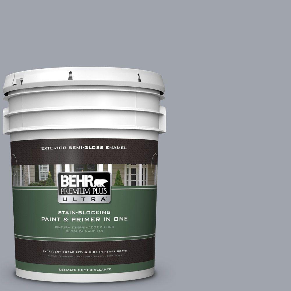 5 gal. #PPU26-19 Chance of Rain Semi-Gloss Enamel Exterior Paint