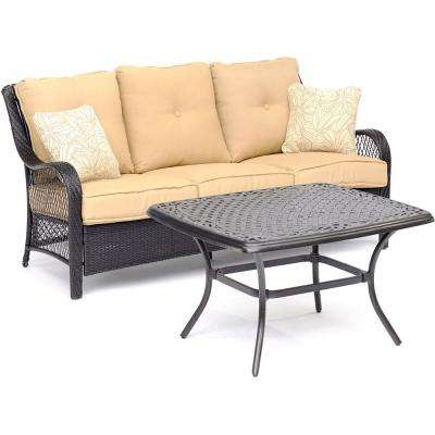 Orleans 2 Piece Metal Patio Conversation Set With Sahara Sand Cushions