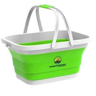 Green Collapsible Multi-Use Camping Basket with Comfort Grip Carrying Handles