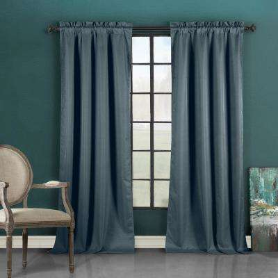 Liam 37 in. W x 96 in. L Polyester Window Panel in Blue