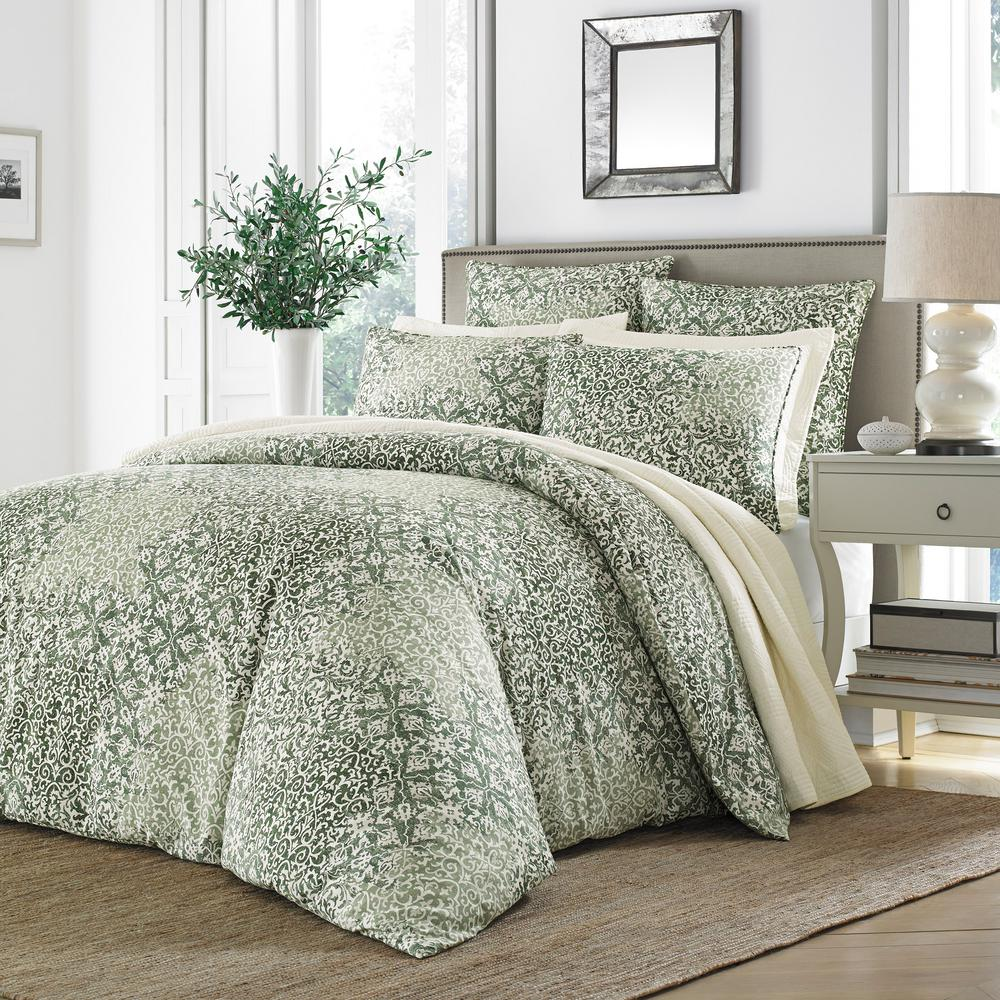 Abingdon 3-Piece Green Floral Full/Queen Duvet Cover Set