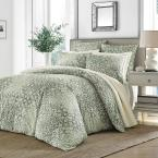 Abingdon 3-Piece Green Floral King Duvet Cover Set
