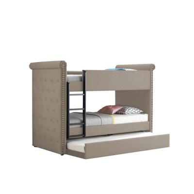 Romana II Beige Fabric Twin/Twin Bunk Bed and Trundle
