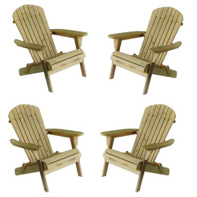 Classic Natural Folding Wood Oceanic Adirondack Chair (4-Pack)