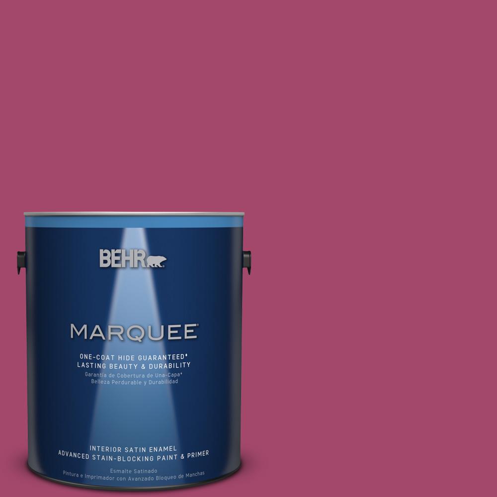 1 gal. #HDC-SM14-1 Fuschia Flair Satin Enamel Interior Paint