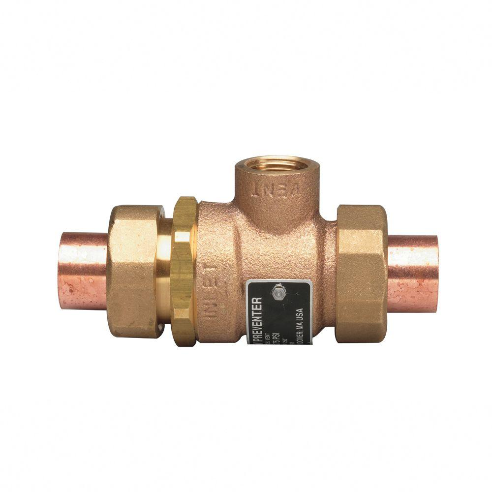 1/2 in. Cast-Brass SWT x SWT Dual Check Vacuum Breaker with