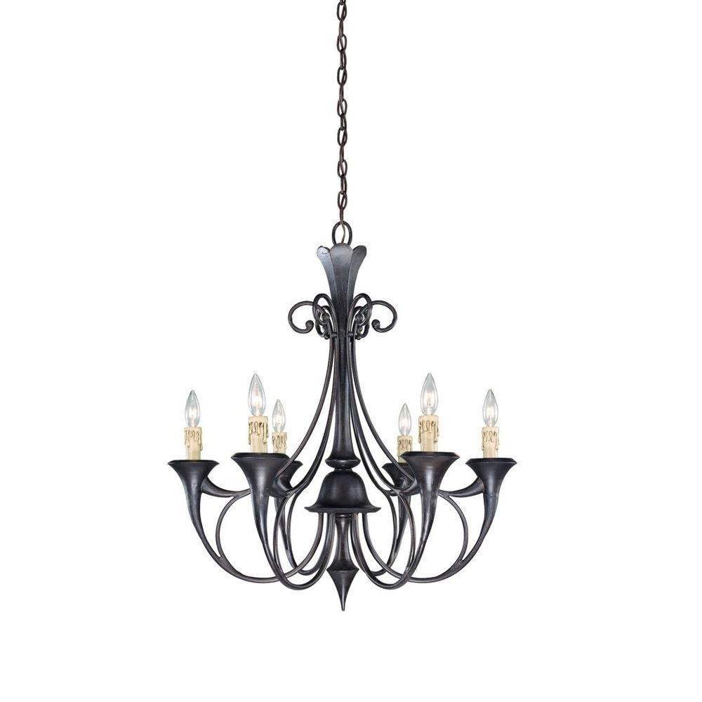 Eurofase Beaumont Collection 6-Light Antique Bronze Chandelier-DISCONTINUED