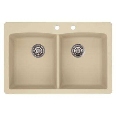 Diamond Dual-Mount Granite 33 in. 2-Hole 50/50 Double Bowl Kitchen Sink in Biscotti
