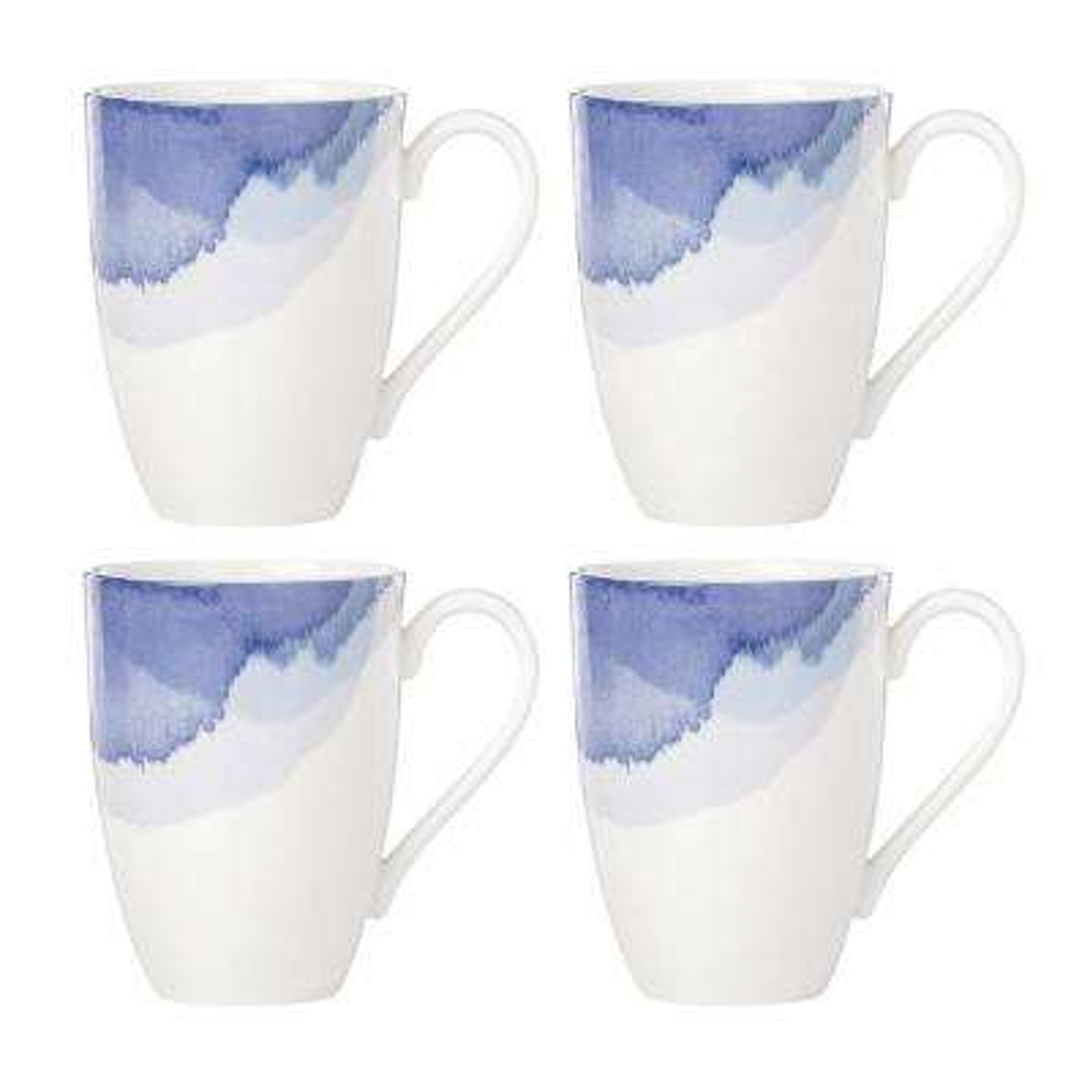 Indigo Watercolor Stripe Mugs (Set of 4)