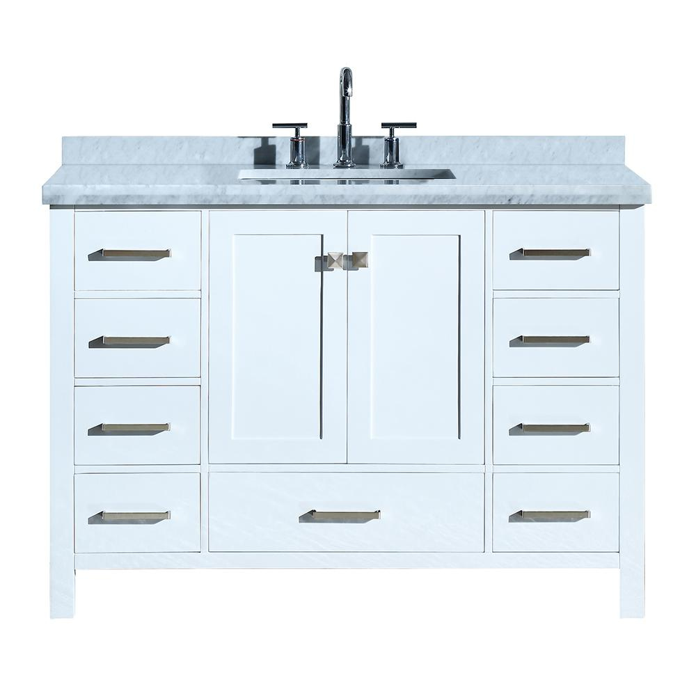 Ariel Cambridge 49 in. Bath Vanity in White with Marble Vanity Top in Carrara White with White Basin