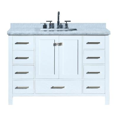 Cambridge 49 in. Bath Vanity in White with Marble Vanity Top in Carrara White with White Basin
