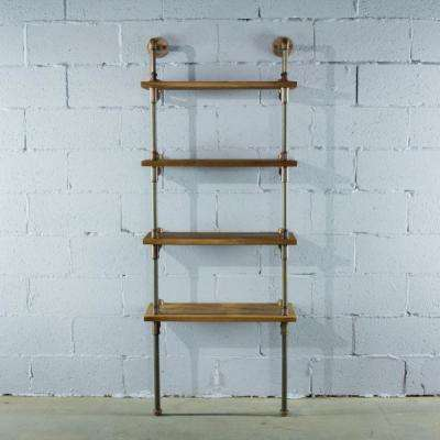 Rustic Brass Gray Steel Industrial Pipe 4-Shelf Bookcase Etagere