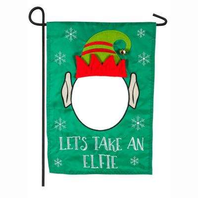18 in. x 12.5 in. Let's Take An Elfie Garden Applique Flag