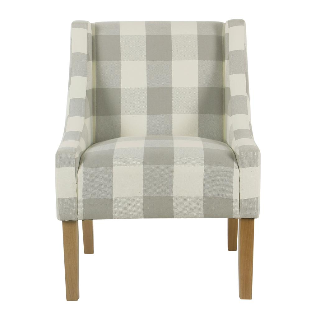 Homepop Gray Buffalo Plaid Modern Swoop Arm Accent Chair ...