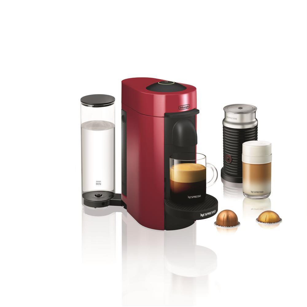 Nespresso Vertuo Plus Single Serve Coffee and Espresso Machine by De'Longhi with Aeroccino in Red