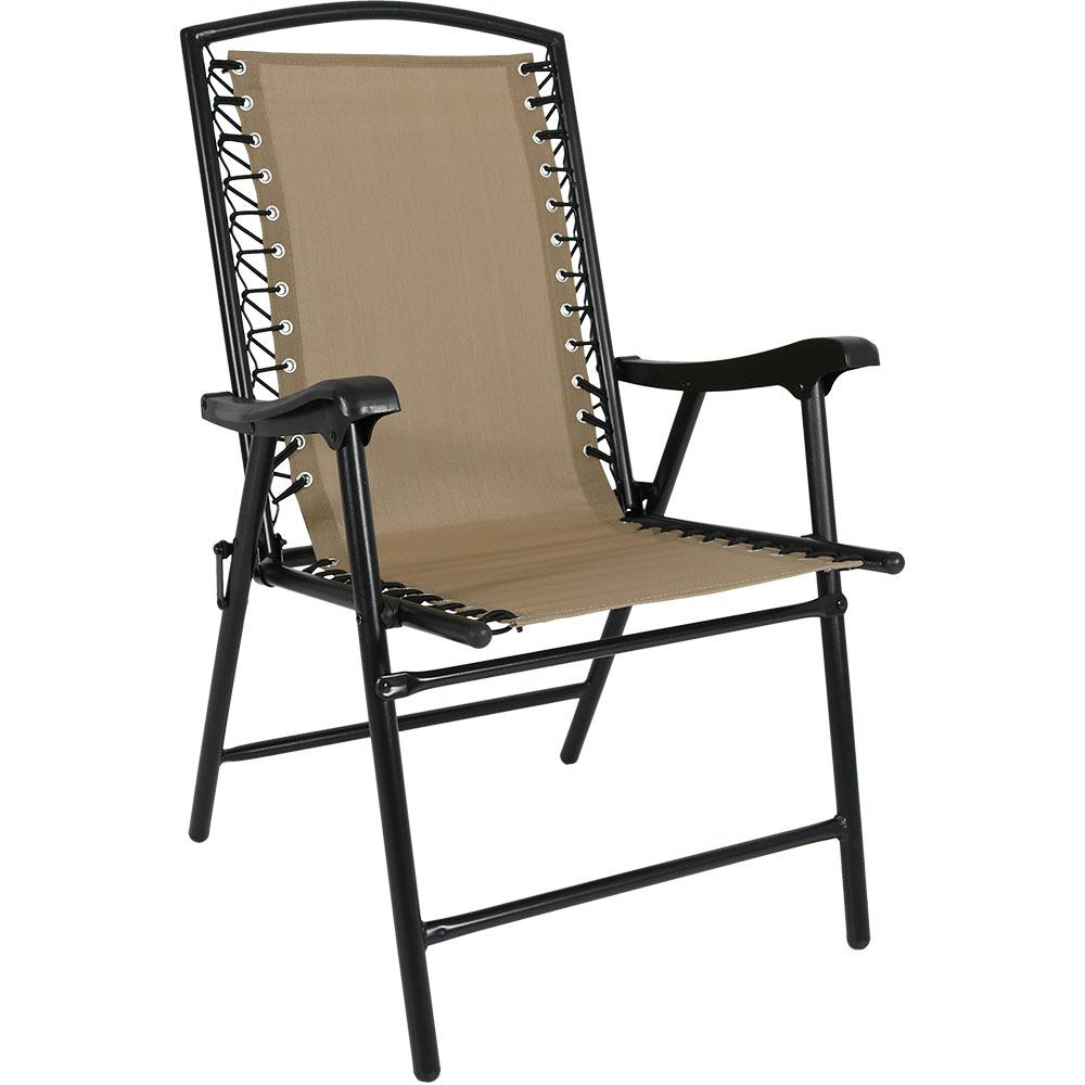 Khaki Sling Folding Beach Lawn Chair