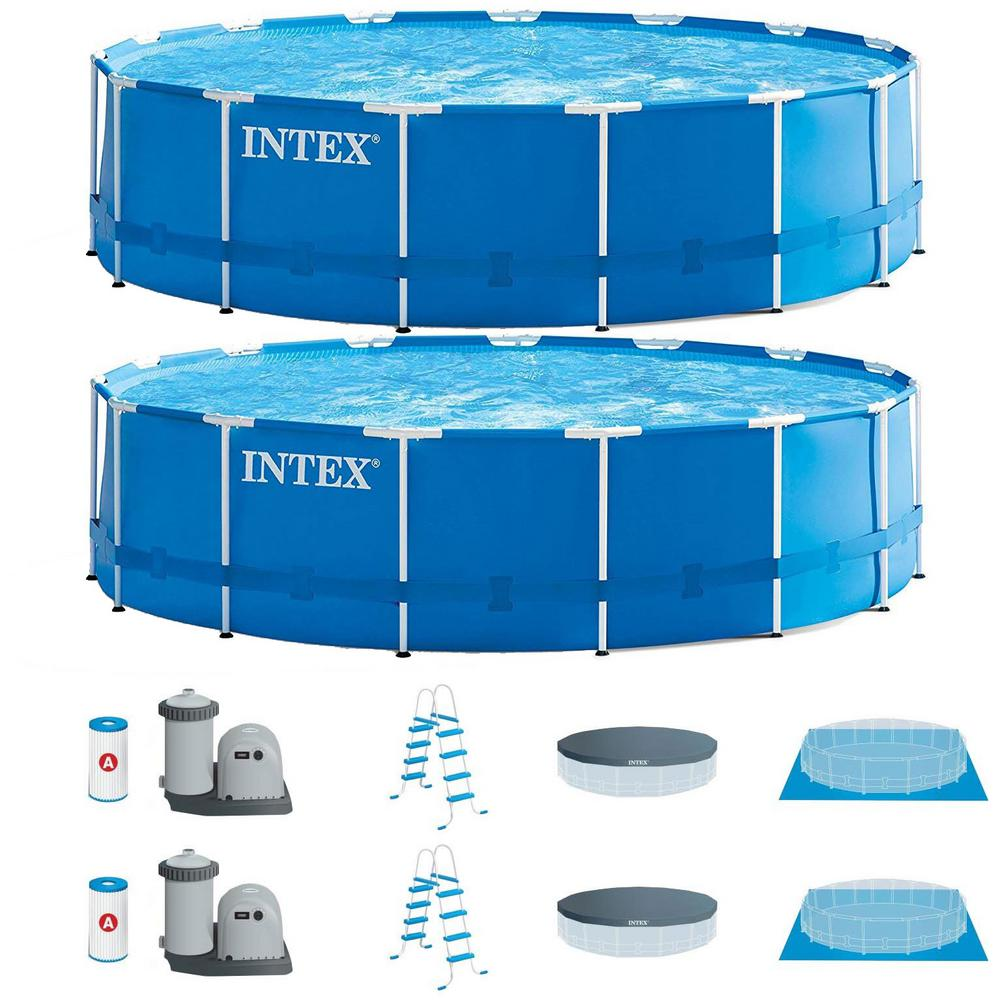 Intex 15 ft. Round 48 in. D Metal Frame Hard Sided Above Ground Swimming  Pool Set with Pump (2-Pack)