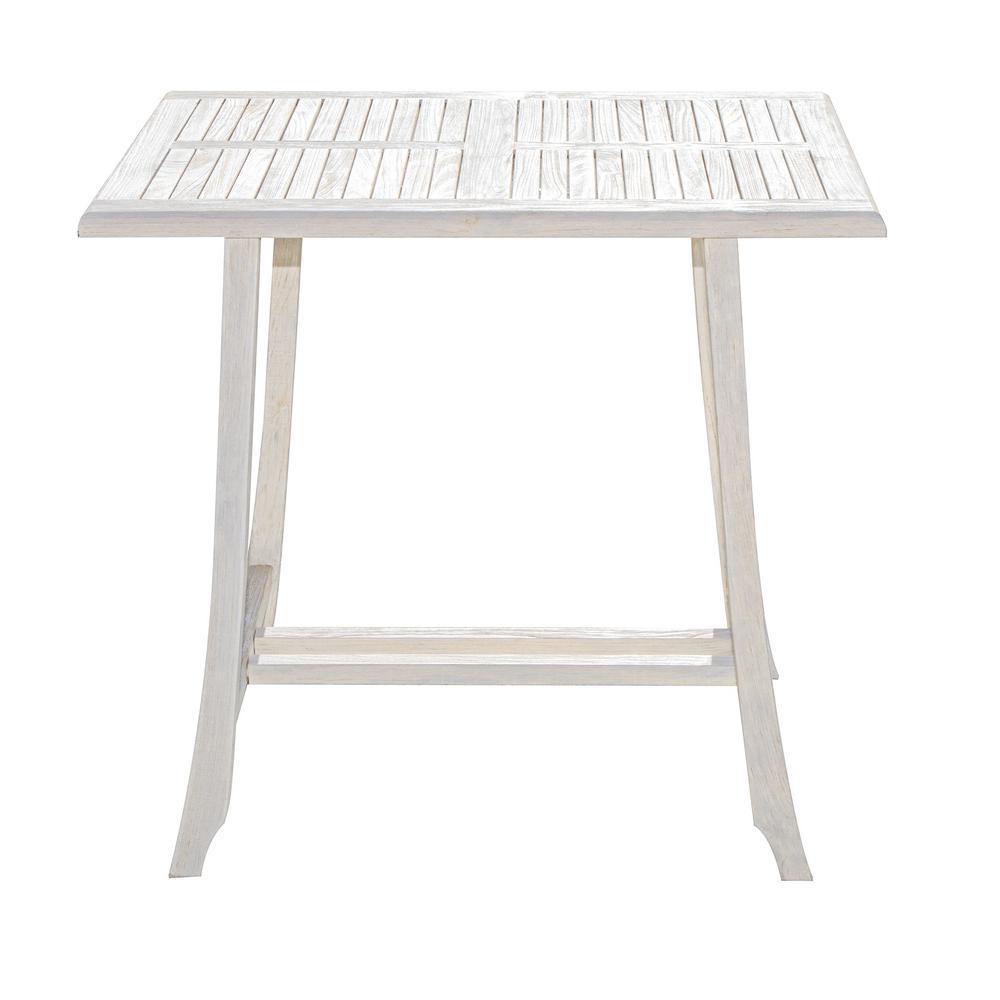 Satori 40 in. Driftwood Solid Teak Indoor Outdoor Height Bar Table