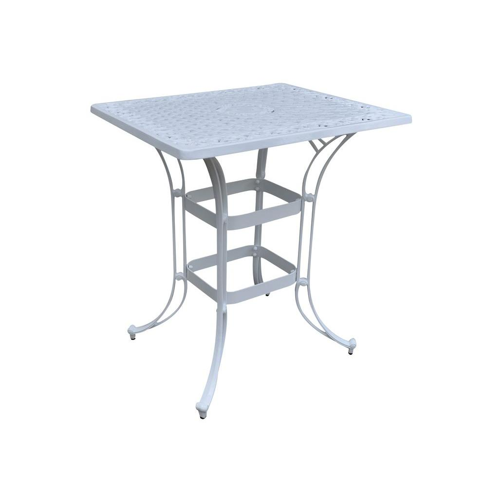 Home Styles Biscayne 36 in. x 30 in. White Rectangular Patio Bistro Table