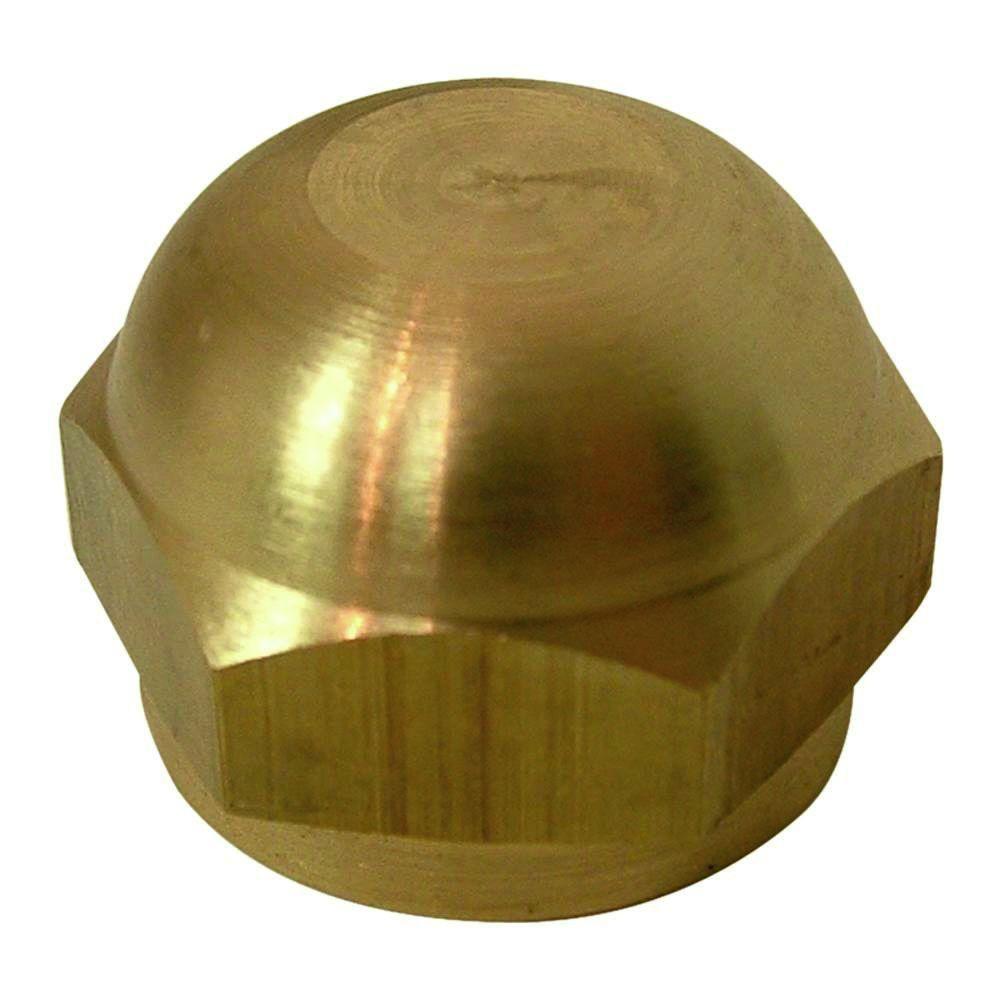 Everbilt 1/4 in  Fl Lead-Free Brass Flare Cap Fitting