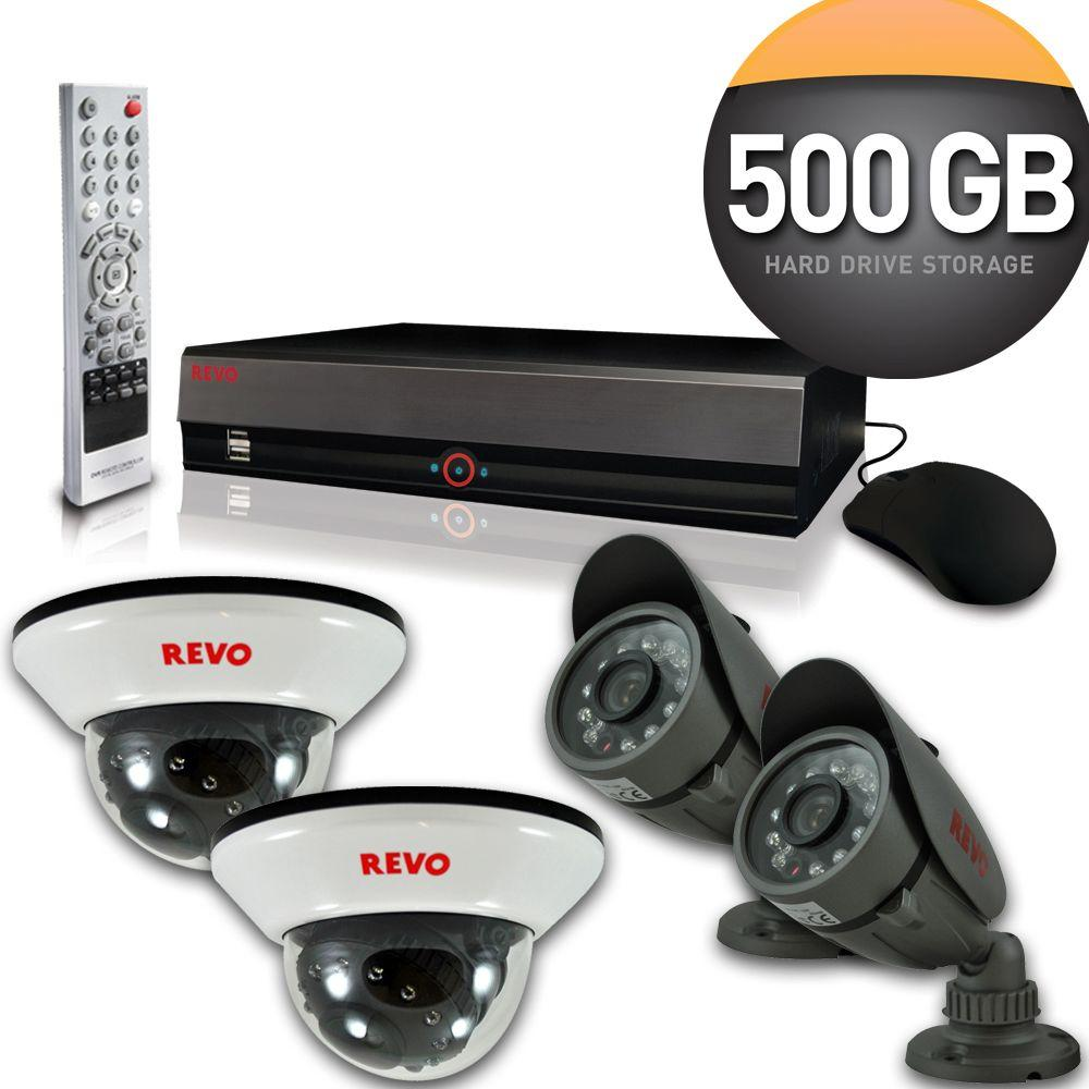 Revo 4-Channel 500GB DVR4 Surveillance System with (4) 600 TVL 33 ft. Nightvision Cameras-DISCONTINUED