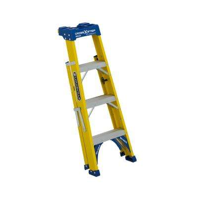 4 ft. Fiberglass Cross Step Ladder with 250 lbs. Load Capacity Type I Duty Rating
