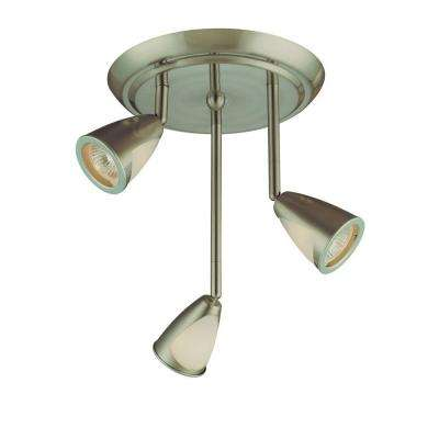 3-Light Staggered Brushed Steel Ceiling Track Lighting Fixture