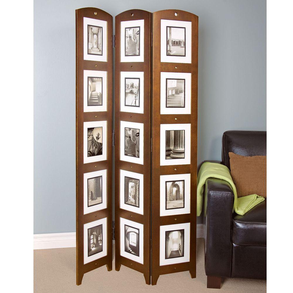 5.4 ft. Walnut 3-Panel Room Divider
