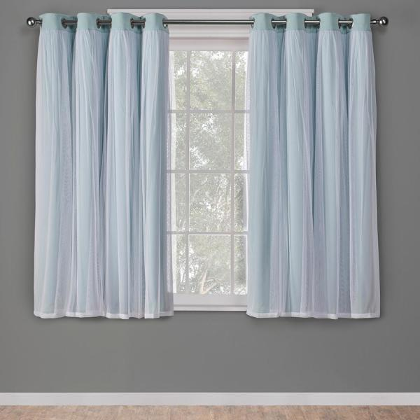 Catarina 52 in. W x 63 in. L Layered Sheer Blackout Grommet Top Curtain Panel in Aqua (2 Panels)