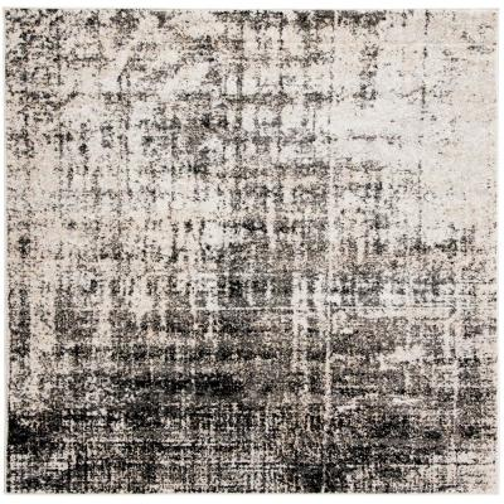 Adirondack Silver/Black 6 ft. x 6 ft. Square Area Rug
