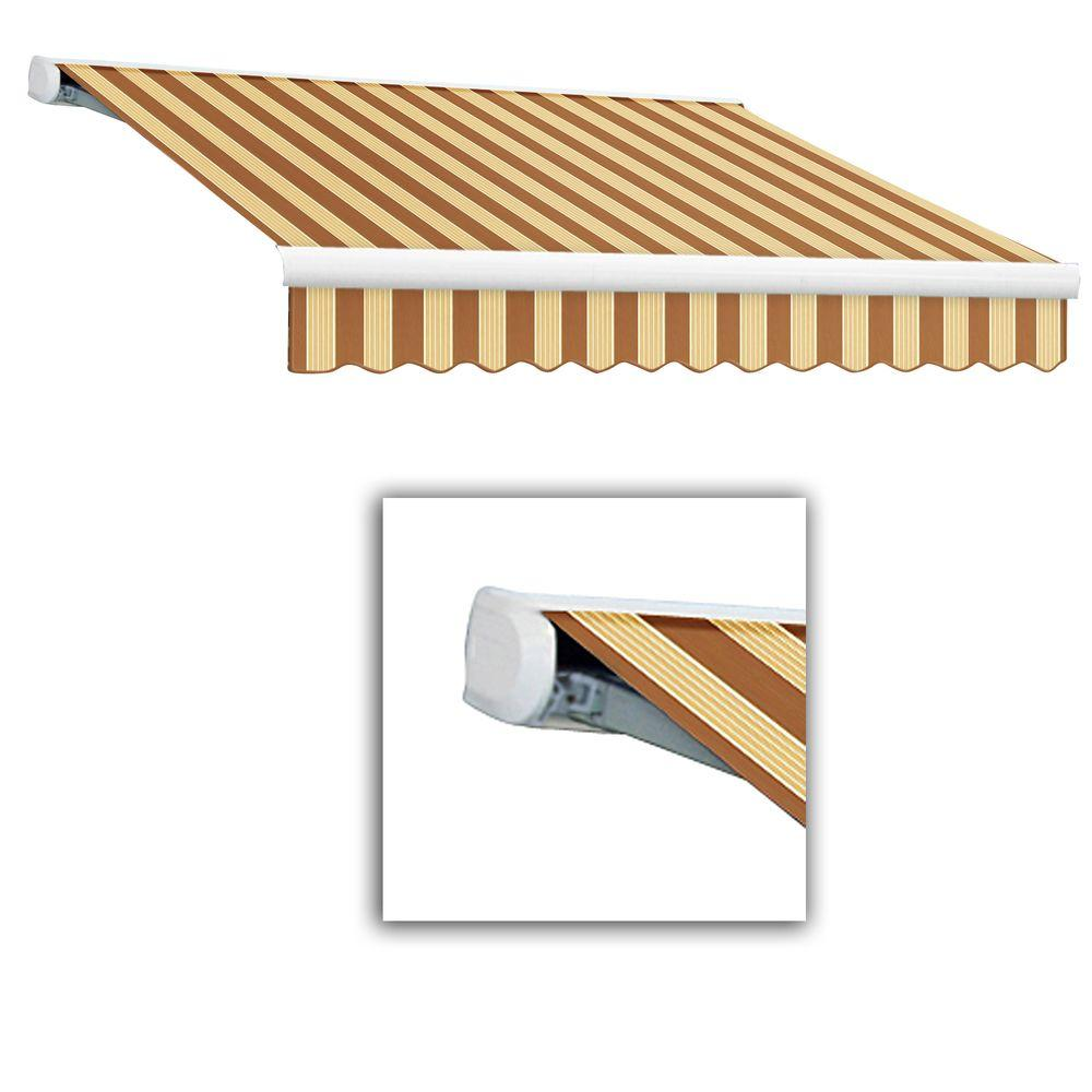 AWNTECH 16 ft. Key West Full-Cassette Left Motor Retractable Awning with Remote (120 in. Projection) in Terra/Tan Multi