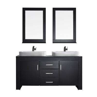 Pascara 63 in. W x 21 in. D Vanity in Espresso with Wood Vanity Top in Espresso with White Vessel Basin with Mirror