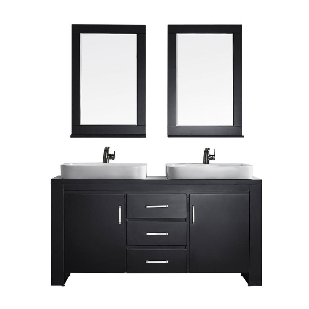 Vinnova Pascara 63 In W X 21 In D Vanity In Espresso With Wood