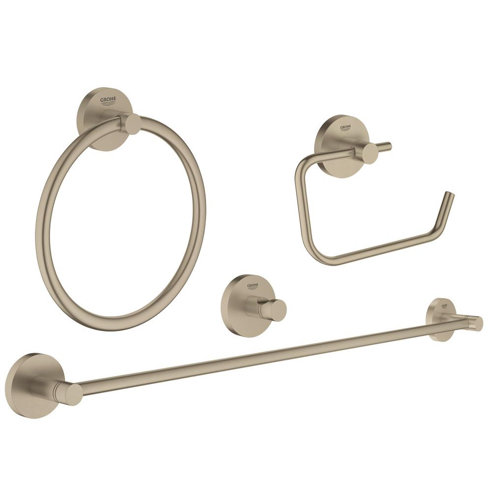 Essentials Accessories 4-Piece Bath Hardware Set in Brushed Nickel Infinity