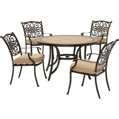 Monaco 5-Piece Round Patio Dining Set with Natural Oat Cushions