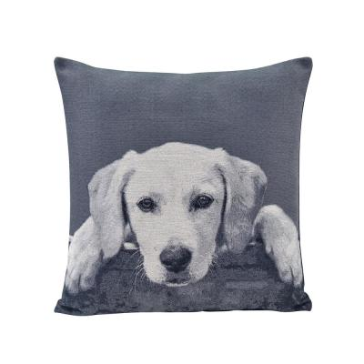 Labrador Puppy Grey Animal Print Polyester 17 in. x 17 in. Throw Pillow