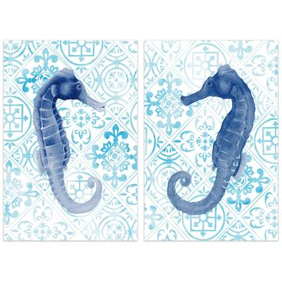 """""""Sea Horse"""" Glass Wall Art Printed on Frameless Free Floating Tempered Glass Panel"""