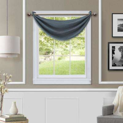 Brooke 18 in. W x 23 in. L Polyester Single Waterfall Swag Blackout Valance in Navy