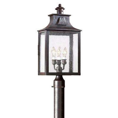 Newton 3-Light Old Bronze Outdoor Post Lantern