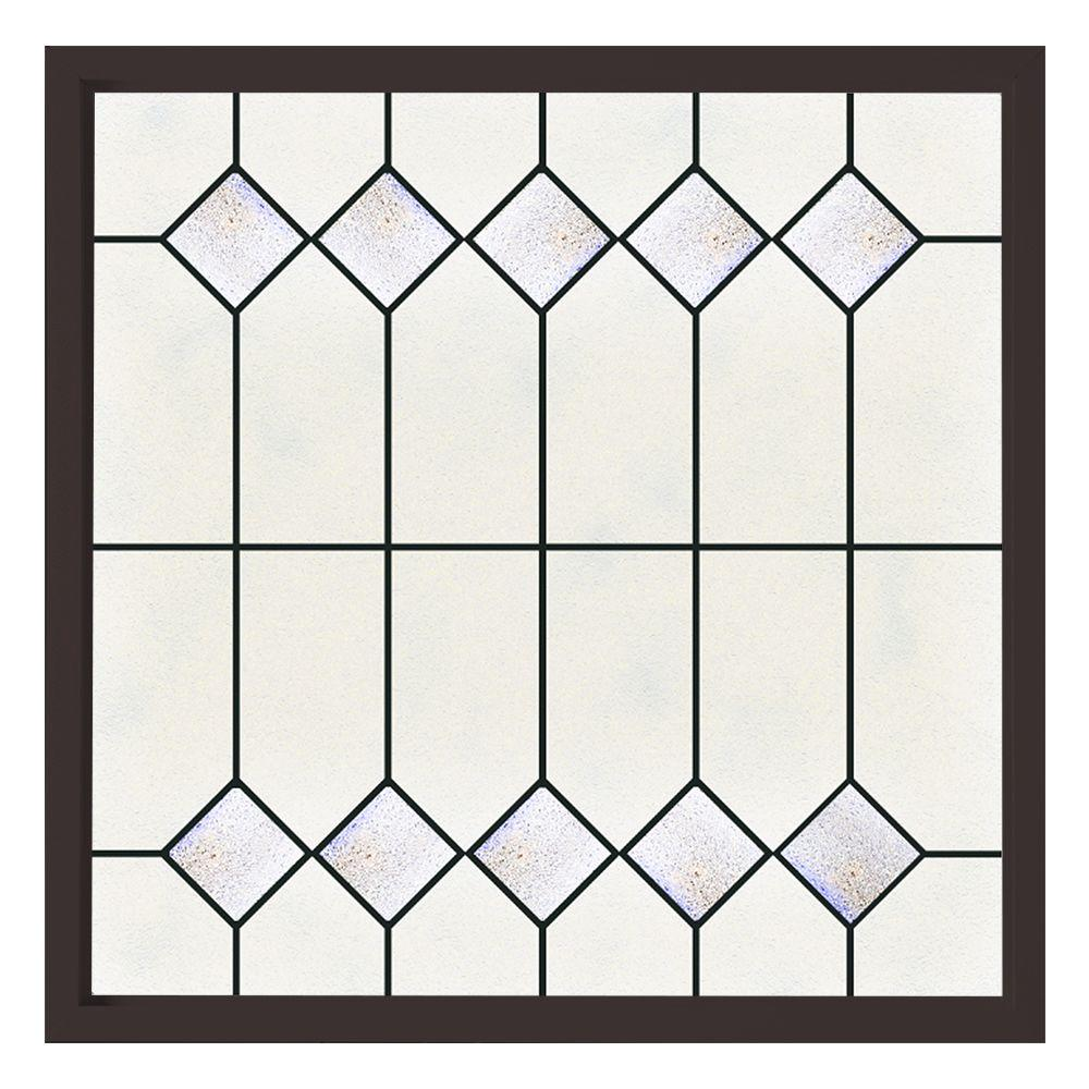Hy-Lite 47.5 in. x 47.5 in. Mission Decorative Glass Picture Vinyl Window - Bronze