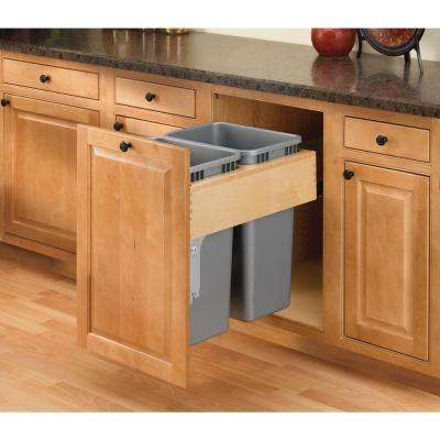 Double 50 Qt. Pull-Out Top Mount Wood and Silver Waste Container with Rev-A-Motion Soft-Close Slides