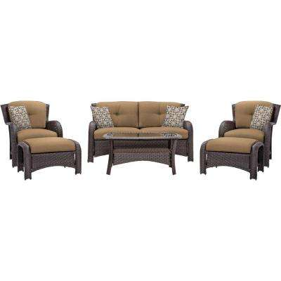 Strathmere 6 Piece All Weather Wicker Patio Deep Seating Set With Country  Cork Cushions