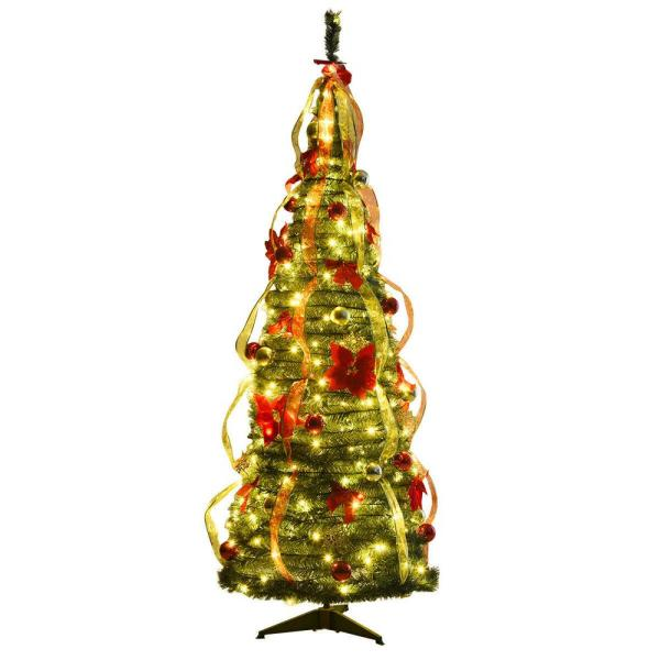 6 ft. Pre-Lit Christmas Tree Fully Decorated Pull Up Tree Flat-to-Fabulous with Light