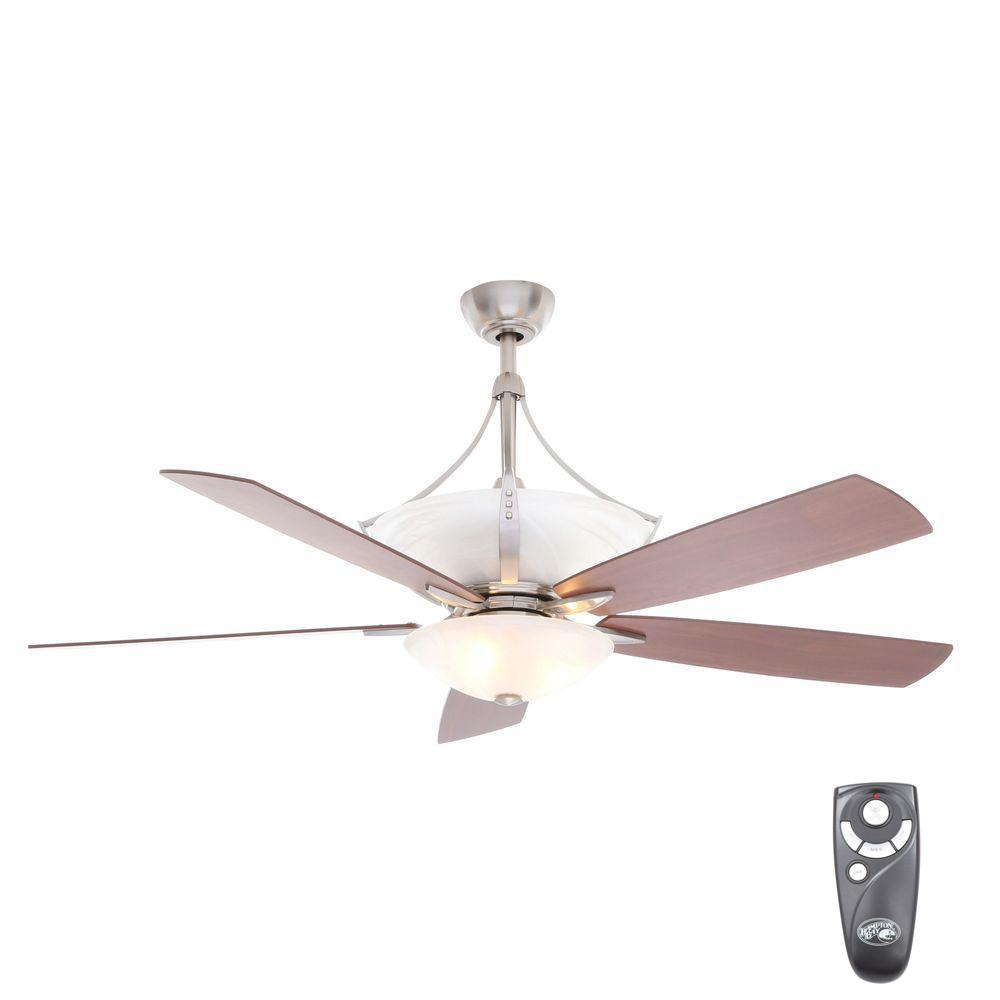 Hampton Bay Brookedale Ii 60 In Indoor Brushed Nickel Ceiling Fan With Light Kit And